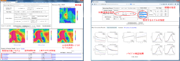 図1:CMIP3の18のモデル出力の中から対象地域の特性を表現していないモデルを取り除くための解析ツール(左)と降水量のバイアス(誤差)を補正し将来の雨の降り方を解析するツール(右)