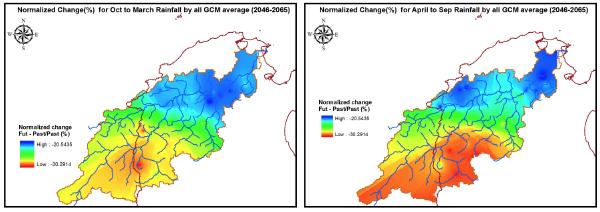 図2:将来(2046-2065)における雨季(左)と乾季(右)の季節降雨の空間分布の変化: 季節降雨は流域全体で雨季、乾季ともに減少する傾向にあります。最も大きな減少は流域上流部における乾季にて発生することが示されました